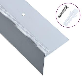 Stair edges in F-shape 15 pcs. aluminium 100 cm silver