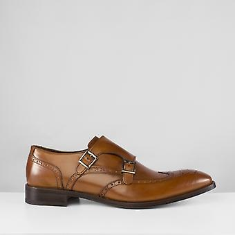 John White Clifton Mens Leather Double Monk Brogue Shoes Tan