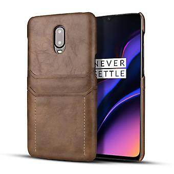For OnePlus 6T Calf Texture PU + PC Protective Case with Card Slots(Coffee)