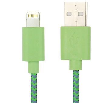 1m nylon netting style USB Data Transfer Oplaadkabel, voor iPhone 6 & 6 Plus / iPhone 5 en 5S en 5C, compatibel met maximaal iOS 11.02(Groen)