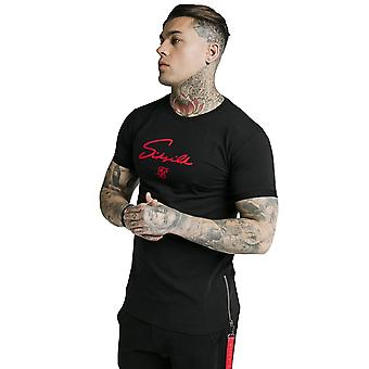 SikSilk Signature Flock T-Shirt - Black