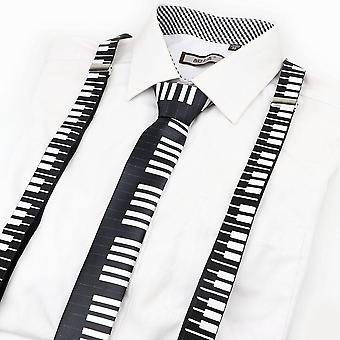 Music Print Suspender Bow Tie Set Men Women Kids Accessory