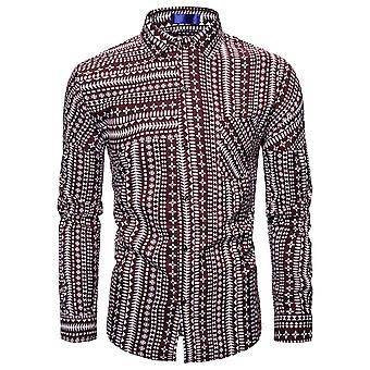 Yunyun Men's Lapel Ethnic Striped Print Casual Slim Fit Button-collar Long-sleeved Shirt