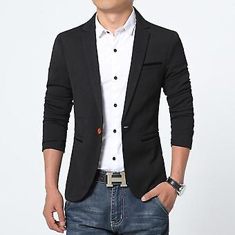 Spring-autumn Luxury Men Blazer Casual Business Cotton Slim Fit Suit Jacket