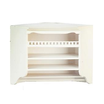 Dolls House White Corner Wall Unit Cabinet Jbm Miniature Kitchen Furniture