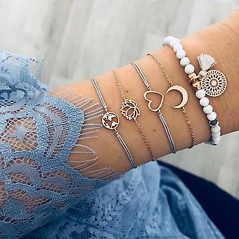 Bracelet de chaîne pentagram de carte de lettre de feuilles mélangées