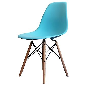 Charles Eames Style Bright Blue Plastic Retro Side Chair - Natural Wood Legs
