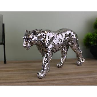 Silver Leopard Ornament Small