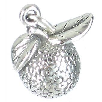 Orange Sterling Silver Charm .925 X 1 Oranges Fruit Fruits Charms - 1829