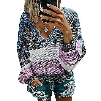 V-neck Women Casual Sexy Stripe Sweater- Outono Tops Soltos