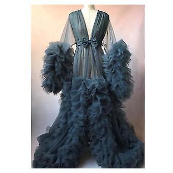 Women Bathrobe Sheer Nightgown Robe