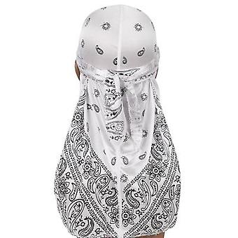 New Men's Print Silky Turban Bandanas Pokrývka hlavy Silk Doo Rag Pirate Hat Wave