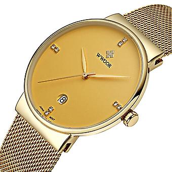 WWOOR 8018 Business Style Mesh Steel Band Mænd Armbånd Watch Dato Display Kvarts W