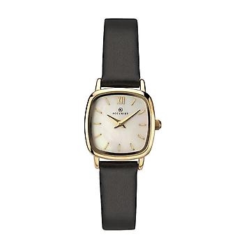 Accurist 8101 Gold & Black Leather Ladies Watch