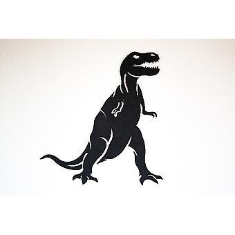 Decoración de pared dinosaurio color metal negro, L64xP0.15xA70 cm