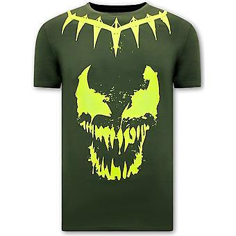 T-shirts med print - Gift ansigt Neon - Grøn