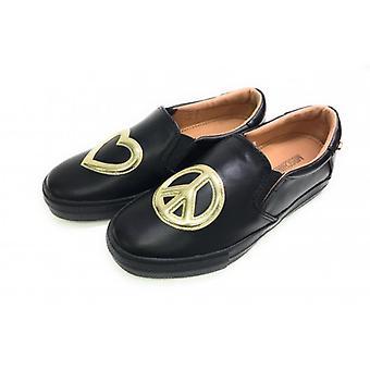 Zapatos de mujer Slipon Love Moschino Corazón Negro Oro D18mo23