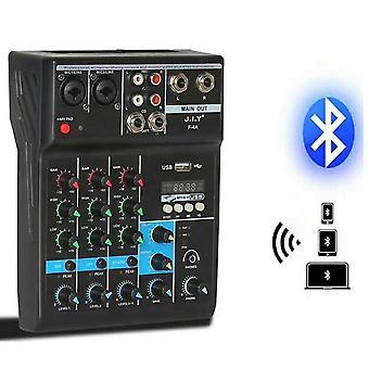 Kannettava äänisekoitin Usb Bluetooth Dj -äänen miksaus Mp3 Jack 4 -kanavalla