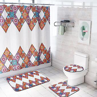 4-częściowy wielokolorowy zestaw zasłon prysznicowych