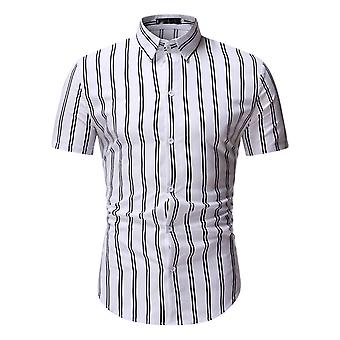 Swotgdoby Men's Striped Pointed Collar Soft Anti-wrinkle Short Sleeve Shirt