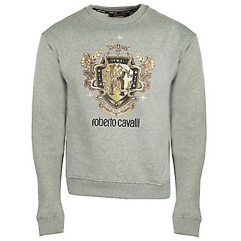 Roberto Cavalli RC Gold Shield Logo Grey Jumper
