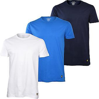 Lyle & Scott 3-Pack Crew-Neck Lounge T-Shirts, Blue/White/Navy
