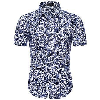 YANGFAN Mens Print Shirt Short Sleeve Slim-fit Shirt