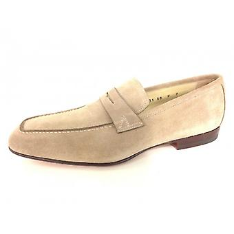Men's Shoes Santoni Moccassus Suede Camel Square Tray Handmade 62