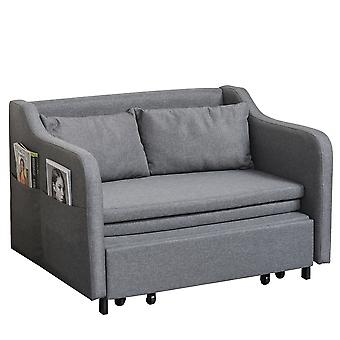 HOMCOM Two Seater Fabric Sofa Bed Convertible Loveseat Couch Sleeper Lounge with Storage for Living Room, Grey