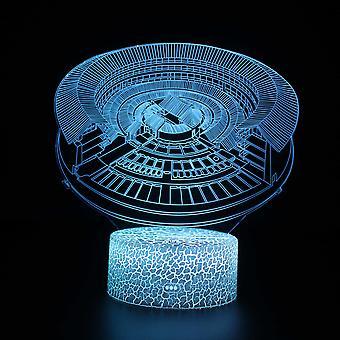 3D Optisk illusionslampa LED Nattljus, 7 färger Touch Sänglampa Sovrum Bord Art Deco Barn Nattljus med USB-kabel Ny jul födelsedag Presentbyggnad # 330