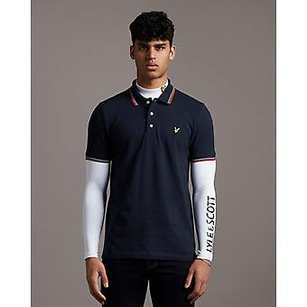 Lyle & Scott Tipped Polo Shirt - Dark Navy/Burnt Orange