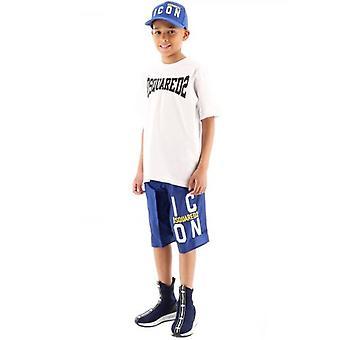 DSQUARED2 Kids Blue Logo ICON Swim Short
