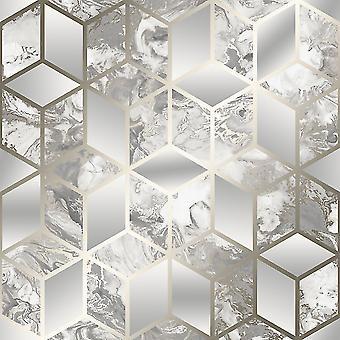 Elixir Cube Marmer Behang Grijs / Goud Muriva 166513