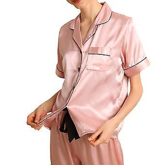 YANGFAN Women's Pajamas Set Soft Lapel Sleepwear Toppi ja Housusarjat