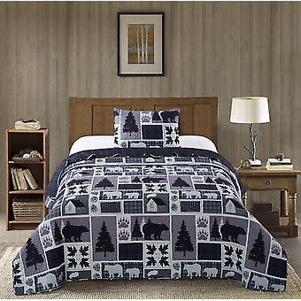Spura Home Pictorial Plaid Forest Printed Novelty Quilt Set