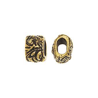 Metallperle, Jardin Barrel 7.5mm, 2 Stück, antik vergoldet, Von TierraCast