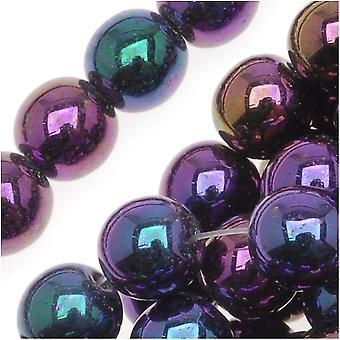 Tšekin lasi Druk Pyöreät läjät 6mm Violetti Iris (50)