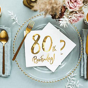 80 års fødselsdags papir Party servietter guld og hvid x 20