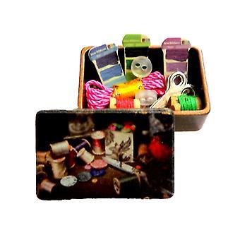 Dolls House Full Old Fashioned Copper Sewing Box Miniaturowe akcesorium