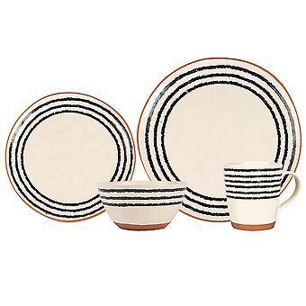 24 piezas de cerámica raya borde vajilla conjunto de vajilla estampada monocroma