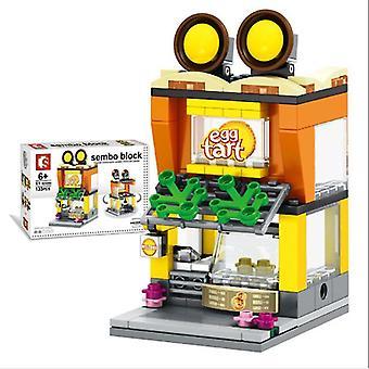 City street egg tart store blocs de construction modèle de jouets pour enfants mini cadeau, copoz az6835