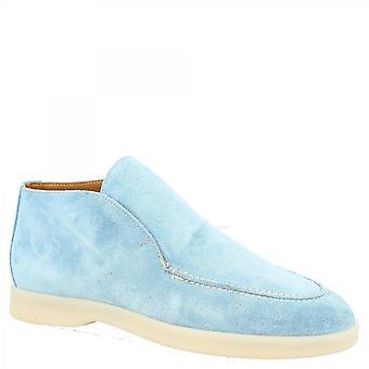 Leonardo Skor Dam handgjorda runda tå slip-on ankel stövlar i ljusblå mocka läder