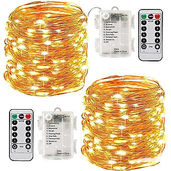 100 Leds10m string lights timer function with remote control ip65 waterproof indoor- warm white(2pcs) dt5931