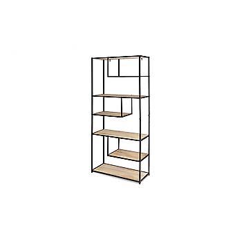 LIFA LIVING Moderne reol af træ og metal til indendørs brug, sort montre med 7 åbne rum, Reol i industrielt design, 82x34x175cm