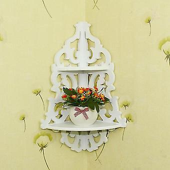 Vintage Decor Floral White Wood Wall Corner Rack Storage Shelf Corner Rack