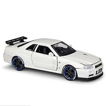 1:24 R34 GT R سيارة نموذج الحرف اليدوية الديكور مجموعة أداة اللعبة يموت الصب (أبيض)