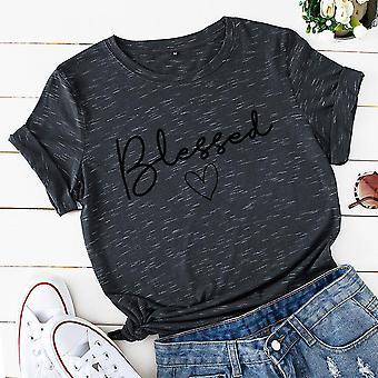Femmes Manches courtes T-shirt Tops Ladies Lettre Bénisse Blouse imprimée Tee Base Pullover