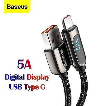 Svart USB Typ C datakabel 5A 2m Xiaomi snabbladdningskabel Huawei mobiltelefon USB C LED