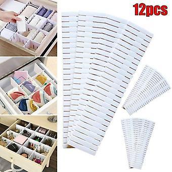 (12PCS) Justerbare skuffe dividere Arrangør Storage Box DIY Lingeri Sokker Separatorer