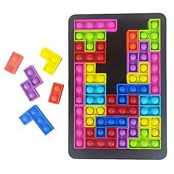 27pcs Tetris Puzzle Simple Dimple Fidget Giocattolo Antistress Puzzle Board Bolla Sensoriale Fidget Giocattoli Educativi per Bambini